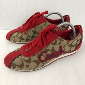 Coach Signature Logo Print Lace Up Sneakers